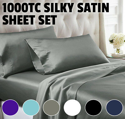 1000TC All Size Ultra SOFT Silk Satin Sheet Set Flat Fitted sheet Pillowcases
