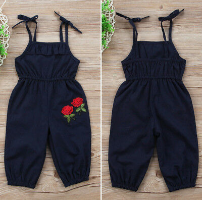 Cute Toddler Kids Girls Embroidery Flower Romper Jumpsuit Playsuit Clothes 1-6T