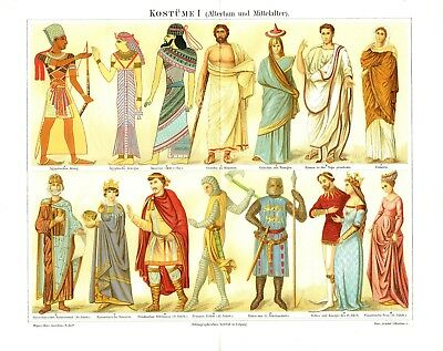 Ancient Medieval costume 1888: Pharaoh King Roman Byzantine Knight antique print