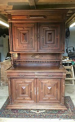 Antique Oak French Buffet Dresser signed and dated December 1915