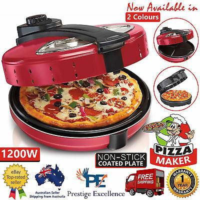 Electric Pizza Maker 1200W Cooker Non-Stick Oven Large 360° Rotating Base Plate