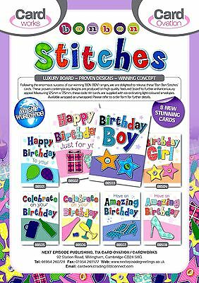 BON BON 'STITCHES' GENERAL CARDS x48. JUST 27p, textured board-wrapped, 8 styles