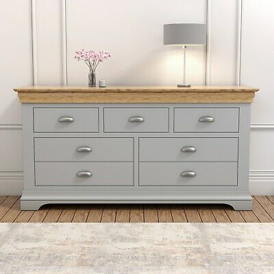 Grey Wide Chest of Drawers Oak Top Solid Wood Two Tone Bedroom Storage