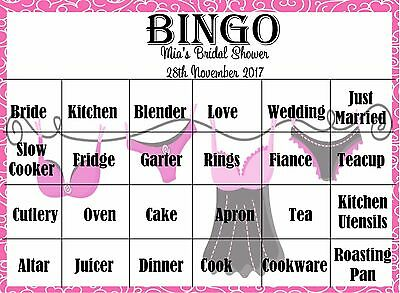 Personalised Kitchen Tea/ Bridal Shower/HENS NIGHT Game - BINGO - 20 Guests