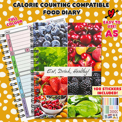 food tracking calorie counting diary planner journal book notes fitness diet C51