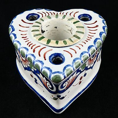 """ENCRIER Ancien, """"COEUR"""" Faïence ROUEN nevers/desvres/ceramic/French Inkwell 19th"""