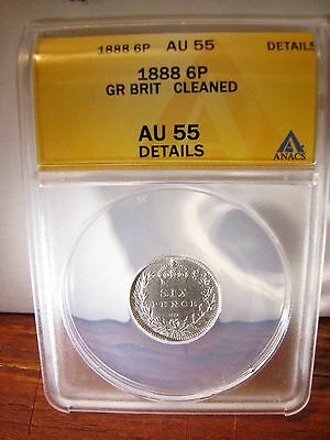 1888 6P Great Britain, Anacs Au-55 Details Cleaned-Year Of Jack The Ripper