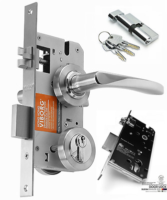 SUS304 Stainless Steel Keyed Privacy Door Security Entry Lever Mortise Lock Set