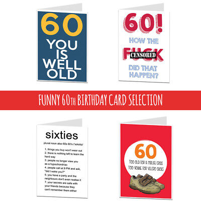 60 60th Birthday Card Cards For Men Women Brother Sister Husband Wife Funny Rude