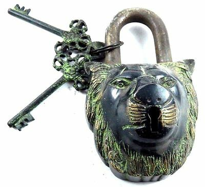 Tiger Face Shape Handmade Antique Vintage Style Brass Padlock With Unique Key