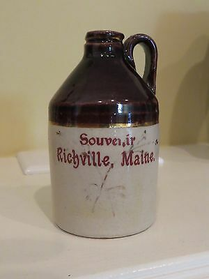 ANTIQUE SOUVENIR MINI WHISKEY JUG SOUVENIR RICHVILLE MAINE Me RED LETTERING nice