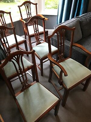 6 dining chairs Queen Anne style inc 2 carver chairs