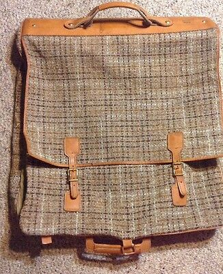 RARE VINTAGE PLAID Hartmann Brown Tweed LEATHER Garment Bag Carry On Luggage 146a7a0f2aa92