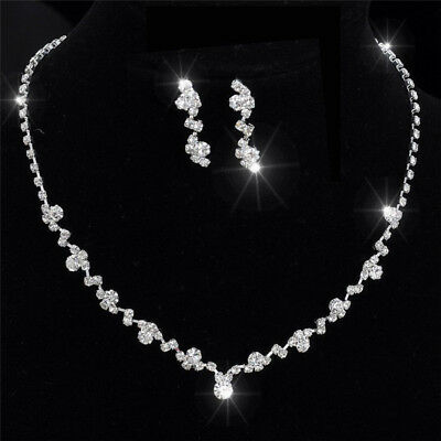 Silver Bridesmaid Crystal Necklace Earrings Set Wedding Bridal Jewelry FO