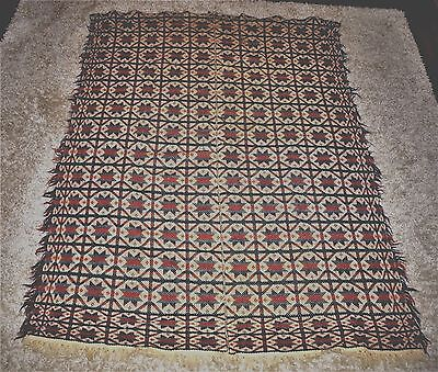 Antique American Jacquard Wool Coverlet Bowmansville Star? 4 colors Early 1800's