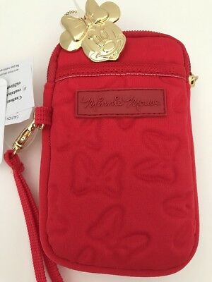 Disney Parks Minnie Mouse Red Bow Logo Wallet Phone Case Wristlet New