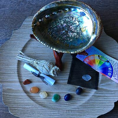 Smudge Kit  Sage Stick Big Abalone Shell Chakra Gemstones Stand Native Altar