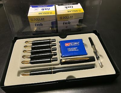Calligraphy Fountain Pen Set 6 Nibs, 2 Ink Bottle & 6 Cartridges