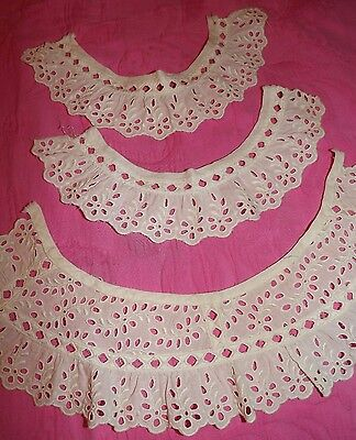 Antique Vintage Embroidered Cut work LACE COLLAR & CUFFS Cream