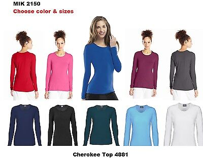 Cherokee Workwear Scrubs Top 4881 Long Sleeve Tee Chz Clor & sizes Free Shipping