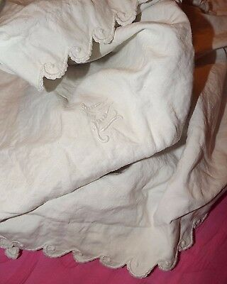 Antique Vintage Monogrammed ML Embroidered Boudoir EURO Pillow Cotton