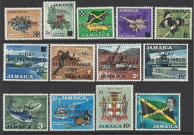 Jamaica 1969 DECIMAL SURCHARGES to $2 Hinged Mint (13) SG 280-292 (MJ7)