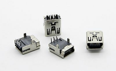 2 pcs Mini USB Female 5Pin 90° PCB Socket Connector 2 Legs HW-MU-5F-20 BLUE YETI