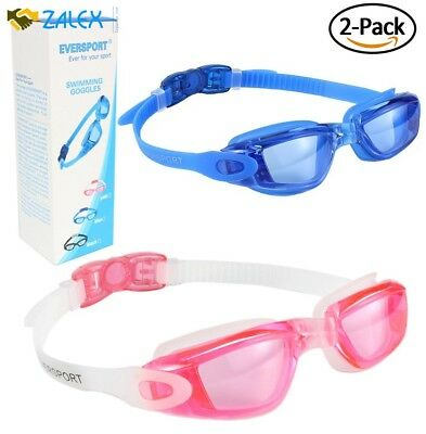 64c11dddb83 EVERSPORT Swimming Glasses for Adult 2 Pack Pink Blue Anti-fog and UV  Protectn