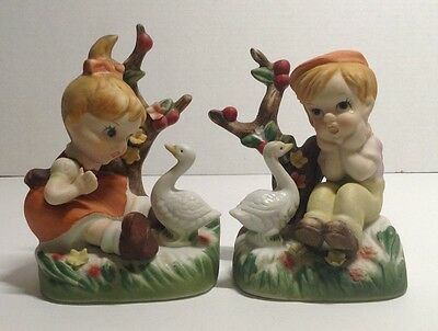 LOT 2 Adorable Girl & Boy Sitting by Apple Tree with Ducks Figurine