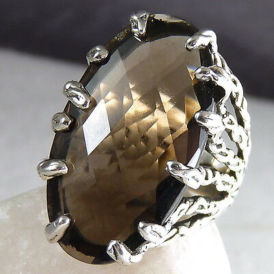 Gemstone STATEMENT SilverSari Ring US 8-11 Solid 925 Stg Silver SMOKY QUARTZ