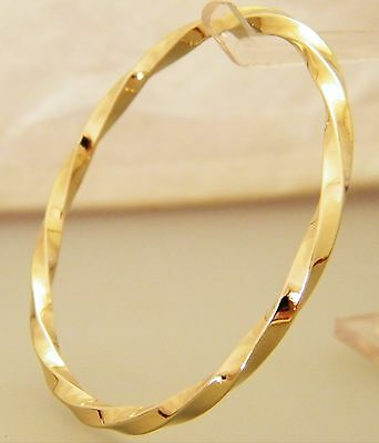 """Gold Square Twist Pattern Small Child's Creola Bangle Size 51mm  - 2"""" Gold Plate"""