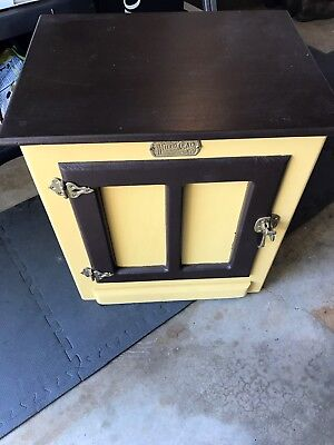 Vintage Oak White Clad Ice Box Refinished End Table