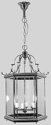 """""""Westminster""""-Chrome-Large-French Provincial Lantern-Solid Brass-Pendant Light"""