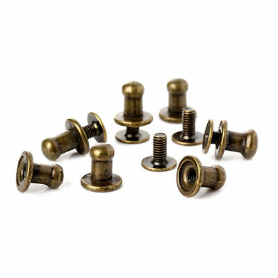 100 X 8mm Bronze Round Button Spikes Metal Studs Rivets Screwback Leather Craft
