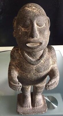 Ancient Pre-columbian, basalt stone figure of Xipe Totec, with COA, Museum Piece