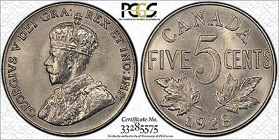 1928 Canada Five Cents PCGS MS-64
