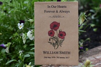 25 Funeral Favours Personalised Seed Packets Memorial/Remembrance (with seeds)