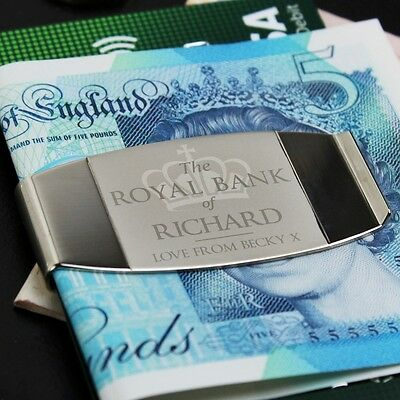 Personalised 'Royal Bank of... Money Clip Birthday Christmas Thank You Gift