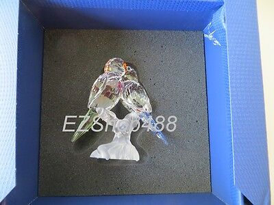 Swarovski Crystal Figurine #680627 Budgies Pair of Parrot Bird RARE New in Box