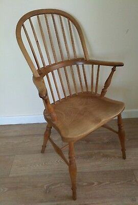 Vintage mid century windsor elm farmhouse spindle back arm chair