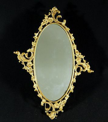 Antique OVAL GILDED Edwardian WALL MIRROR 14x11