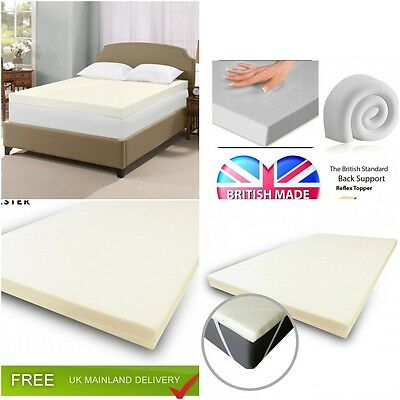 "Orthopaedic 100% Memory Foam Mattress Topper Available Sizes & Depths 1"" 2"" 3"""