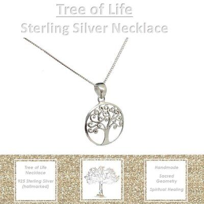 Sterling Silver Rose Gold Tree of Life Pendant Fine Necklace Women Girls Party