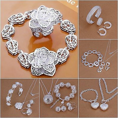 New 925 Silver Sets Bracelet Necklace Ring Earrings Xmas Gift + Gift Box