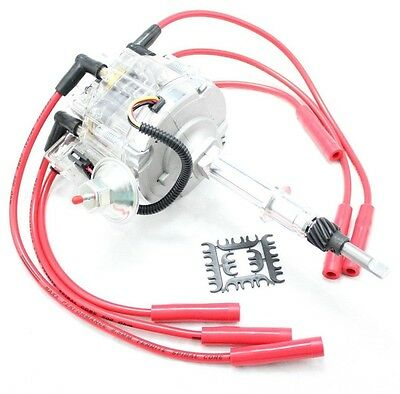 Clear HEI Distributor Coil Red 8.5mm Spark Plug Wires 56-74 AMC Jeep 232 258 L6