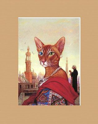 Opulent Matted Abyssinian Art * Mark Hess * Exotic Cat Woman
