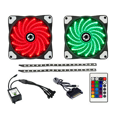 Game Max RGB Cooling Kit, 2 x 120mm RGB Case Fans, 2x LED Strips, Remote Control