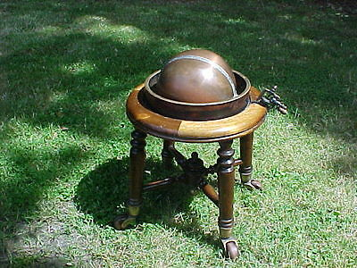 Antique Copper Brass Mahogany Globe