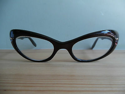 Vintage Ladies Viennaline Pearly Brown & Black Cat Eye Glasses  135 5 1/2  48 20