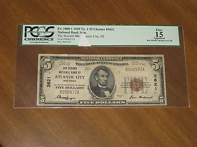 1929 Type 1 $5 National Bank Note 2nd NB Atlantic City New Jersey 3621 PCGS 15